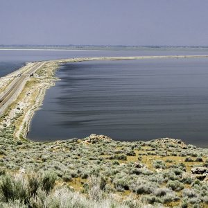 The road to Antelope Island in the Great Salt Lake, Utah.
