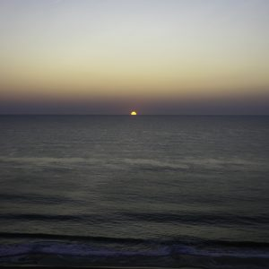Sunrise over the Atlantic Ocean.